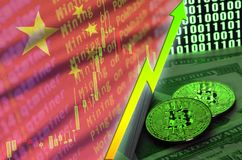 China flag and cryptocurrency growing trend with two bitcoins on dollar bills and binary code display. Concept of raising Bitcoin in price and high conversion royalty free stock photos