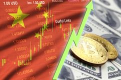 China flag and cryptocurrency growing trend with two bitcoins on dollar bills. Concept of raising Bitcoin in price against the dollar royalty free stock image