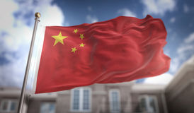 China Flag 3D Rendering on Blue Sky Building Background. Digital Art Royalty Free Stock Photo