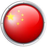 China flag design on round badge Royalty Free Stock Images