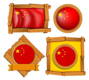 China flag in different frame designs Royalty Free Stock Images