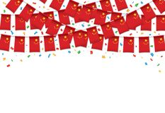 China flag garland white background with confetti, Hang bunting for Chinese Independence Day. Celebration template banner, Vector illustration Royalty Free Stock Photography