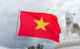 China flag with gaun yin under reconstruction Royalty Free Stock Photo