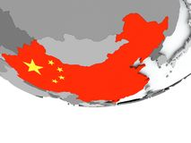 China with flag on globe Royalty Free Stock Images