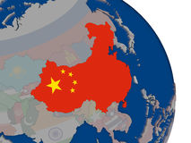 China with flag on globe Royalty Free Stock Photography