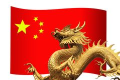 China Flag with golden dragon Royalty Free Stock Photography