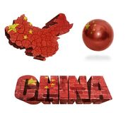 China Symbols. China flag and map in different styles in different textures royalty free illustration