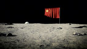 China flag on the moon stock video