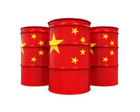China Flag Oil Barrel. Isolated on white background. 3D render Stock Photo