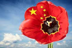 China flag. On the order of flower on background of blue sky Stock Photos