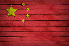 China flag painted on wooden boards Stock Photography