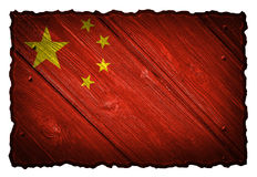 China flag. Painted on wooden tag. Isolated on white background royalty free stock image