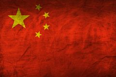 China Flag on Paper. Flag on an old Paper Texture Stock Photo