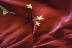 China flag is reflected in broken mirror. Still life royalty free stock image
