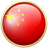 China flag on round frame Royalty Free Stock Images