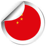 China flag on round sticker Royalty Free Stock Images