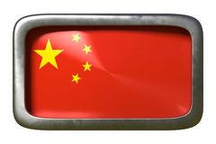 China flag sign. 3d rendering of a China flag on a rusty sign isolated on white background royalty free illustration