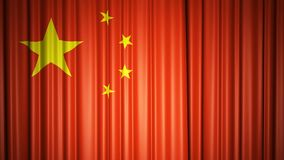 China flag silk curtain on stage. 3D illustration vector illustration
