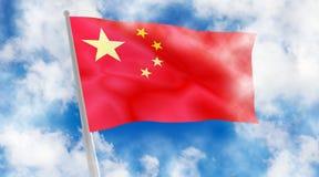 China flag on sky background. Royalty Free Stock Photos
