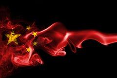 China flag smoke. On a black background Stock Photography