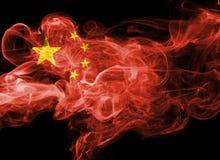 China flag smoke. Isolated on a black background Stock Photo
