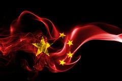 China flag smoke. Isolated on a black background Royalty Free Stock Images