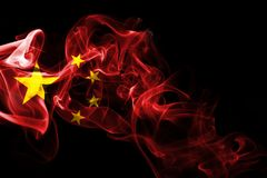 China flag smoke. Isolated on a black background Royalty Free Stock Photography