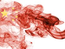 China flag smoke. Isolated on a white background Royalty Free Stock Images