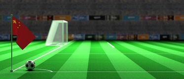 China flag on a soccer field. 3d illustration. China flag on a soccer football field. 3d illustration Royalty Free Stock Photo