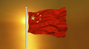 China Flag Sunrise. Illustration of waving China Flag on setting sun Stock Image