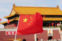 China flag and Tiananmen tower Stock Photography