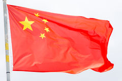 China flag waving on the wind. Close up royalty free stock photos