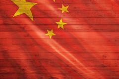 China Flag. On wooden planks stock photos