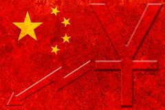 China flag with yuan chinese currency symbol and downside graph on rustic background Royalty Free Stock Image