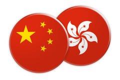 China-Flaggen-Knopf auf Hong Kong Flag Button, Illustration 3d auf weißem Hintergrund lizenzfreie abbildung