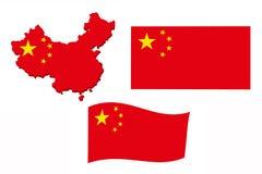 China-Flaggenkarte Stockfotografie