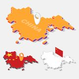 China flags on map element with 3D isometric shape isolated on background Stock Images