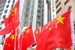 China Flags. People holding the China Flags Stock Photography