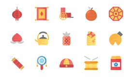 China Flat Icons Set. A creative flat  icons pack of Chinese elements portraying Chinese tradition and culture. This colorful icons set is a must have for all Royalty Free Stock Photography