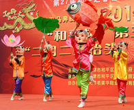 China folk mask dances. China folk mask dances at dragon raising-head  temple fair He-ping  Tianjin China photoed on march 2nd 2014 Stock Photo