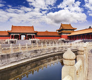 China Forbidden city canal fence. China Beijing Forbidden city - ancient residence of Emperor view from inside the palace with water filled canal and reflections stock photos