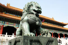 China Forbidden City Lion. Lying at the center of Beijing, the Forbidden City, called Gu Gong, in Chinese, was the imperial palace during the Ming and Qing stock photography