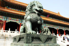 China Forbidden City Lion. Lying at the center of Beijing, the Forbidden City, called Gu Gong, in Chinese, was the imperial palace during the Ming and Qing stock image
