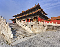 China Forbidden city Stairs temple. China Beijing Forbidden city emperor temple side view from stairs with red wall and traditional chinese decoration stock photo