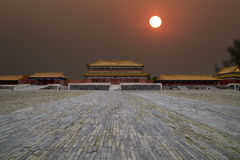 China Forbidden City in sunset Royalty Free Stock Photo