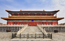 China Forbidden city Temple front fence. Forbidden city palace complex in Beijing, China, front view of the temple with stairs and locked doors above stone stock images