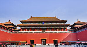 China forbidden city ticket Entry. China Beijing Forbidden city main entry palace and gate with entry points and people crowds going through red defensive walls stock photo