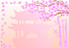 China frames. Frames with colored bamboo over stylised baskground royalty free illustration