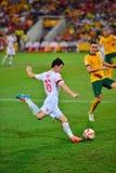 China-Fußball Team Cross Into The Bax Stockbilder