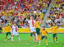 China-Fußball Team Cross Into The Bax Lizenzfreie Stockfotos